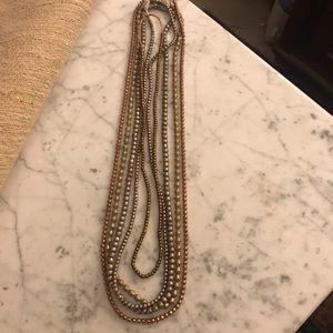 Twine and twig mixed metallic layer necklace set